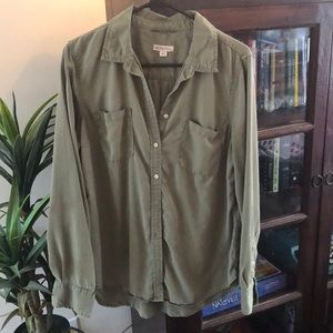 Army green boyfriend fit button up